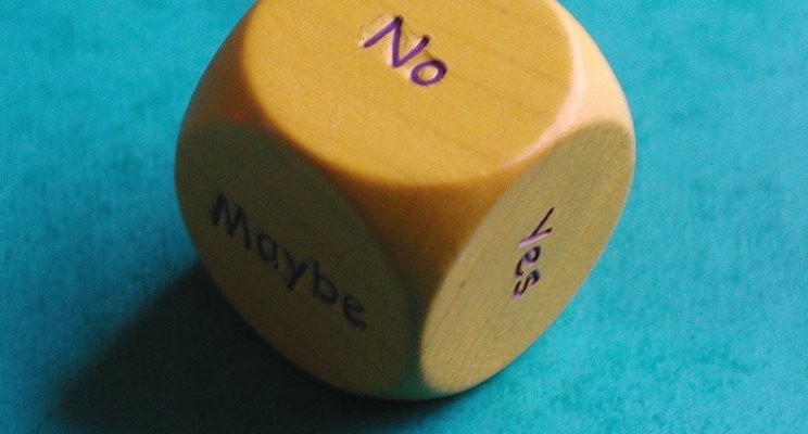 Image of a dice with no at the top (the other visible options being maybe and yes)