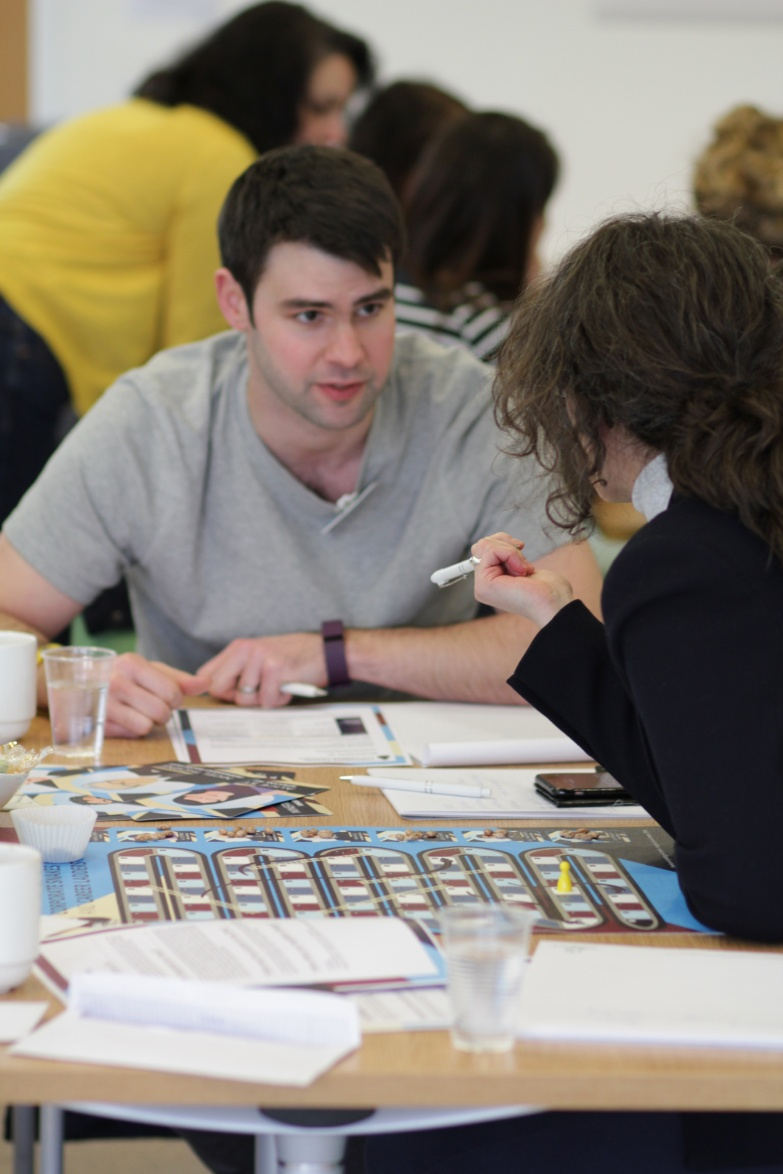 Image of two people playing the Corporate Snakes & Career Ladders game