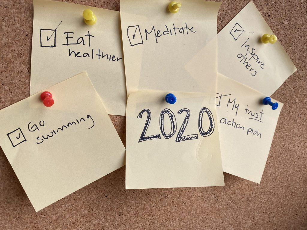 2020 resolutions board